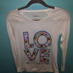 Justice Girls Glitter Shirt Size 14 Brand New